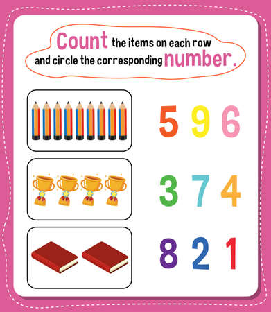 Illustration for Math count number worksheet illustration - Royalty Free Image