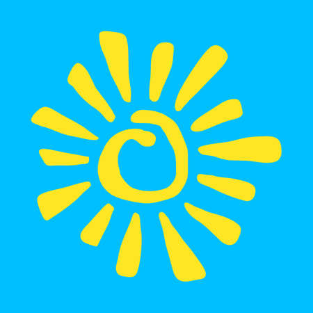 Yellow Stylized Sun in Inky Painted Tribal Style vector iconYellow Stylized Sun in Inky Painted Tribal Style vector icon