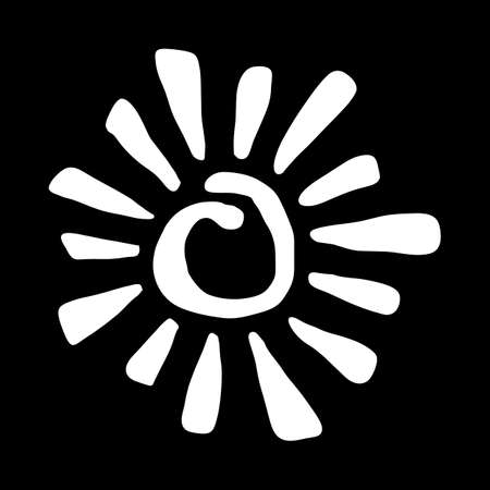 Yellow Stylized Sun in Inky Painted Tribal Style vector icon