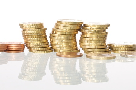 Picture of coins stacked, white isolated background