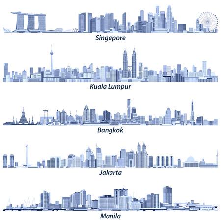 Illustration pour Abstract vector illustrations of Singapore, Kuala Lumpur, Bangkok, Jakarta and Manila skylines - image libre de droit