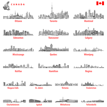 Illustration for Canada largest cities and all states capitals skylines - Royalty Free Image