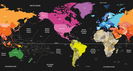 World political map centered by America