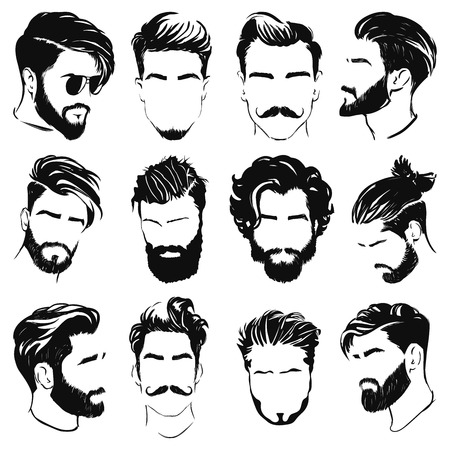 Illustration pour vector illustration of men hairstyle silhouettes - image libre de droit
