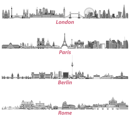 Illustration pour London, Paris, Berlin and Rome city skylines in black and white color palette isolated on white background. Vector illustration - image libre de droit