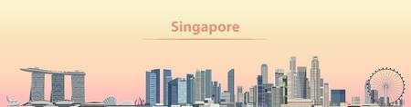 Foto per vector illustration of Singapore city skyline at sunrise - Immagine Royalty Free