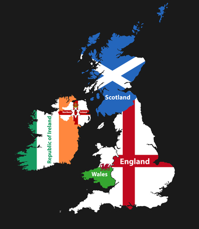 Illustration for Countries of British Isles: United Kingdom (England, Scotland, Wales, Northern Ireland) and Republic of Ireland map combined with flags - Royalty Free Image