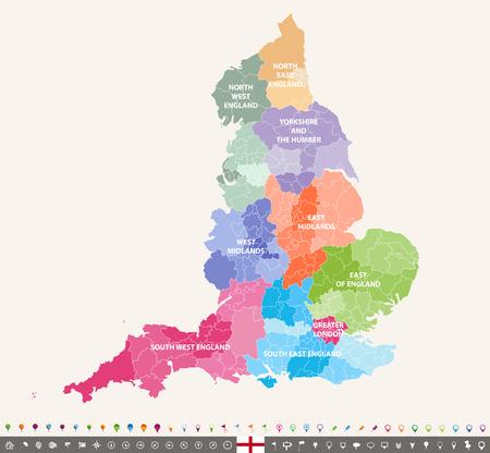 Illustration pour England ceremonial counties vector map - image libre de droit