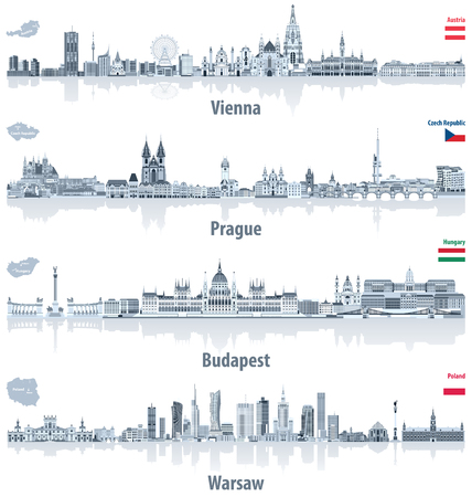 Illustration pour Vector abstract city skylines of Vienna, Prague, Budapest and Warsaw in light azure color palette. Flags and maps of Austria, Czech Republic, Hungary and Poland - image libre de droit