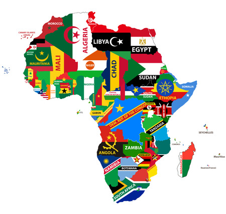 Illustration pour vector political map of Africa with all country flags - image libre de droit