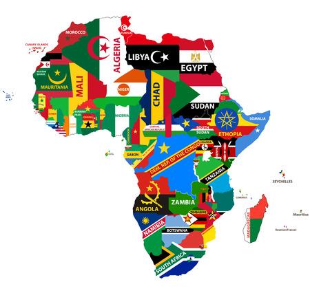 Ilustración de vector political map of Africa with all country flags - Imagen libre de derechos