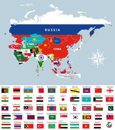 Illustration pour Asia map jointed with country flags. All Asian countries flags. - image libre de droit