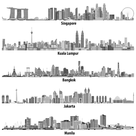 Illustration pour abstract vector illustrations of asian cities (Singapore, Kuala Lumpur, Bangkok, Jakarta and Manila) skylines in black and white color palette - image libre de droit