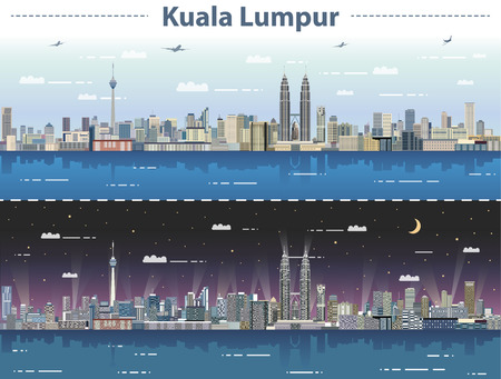 Illustration pour vector illustration of Kuala Lumpur skyline at day and night - image libre de droit