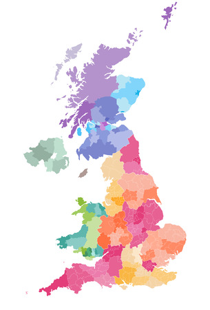 Illustration pour colored map of the United Kingdom Districts and counties map of England, Wales, Scotland and Northern Ireland - image libre de droit