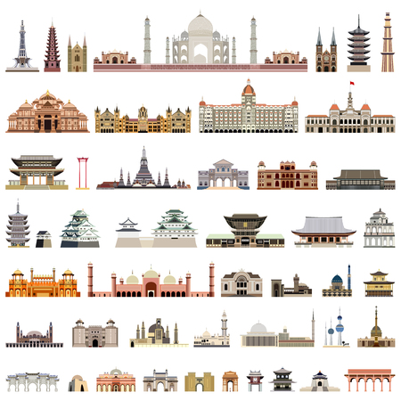 Illustration pour collection of isolated templates, towers, cathedrals, pagodas, mausoleums. - image libre de droit