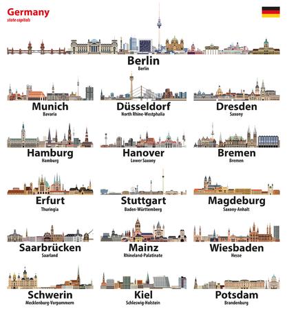 Illustration pour Germany state capitals cities skylines. - image libre de droit