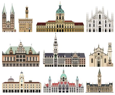 Photo pour vector collection of high detailed isolated city halls, landmarks, cathedrals, temples, churches, palaces and other city's skyline architectural elements - image libre de droit