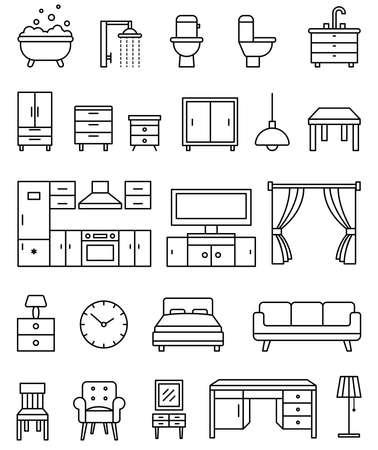 Illustration pour Interior objects outline isolated icons vector set - image libre de droit