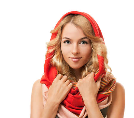 Beautiful Blonde Woman Wearing Colorful Infinity Scarf  Isolated on White