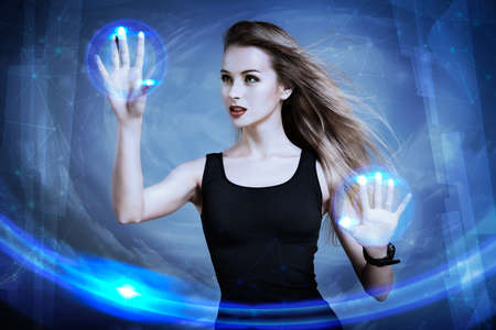 Beautiful Sexy Woman Using Virtual Screen. Perfect IT Virtual Reality Concept. Touch Screen Interface Visualization.