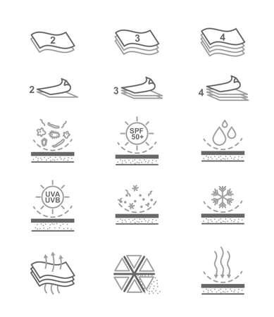 Ilustración de Simple Set of Fabric Feature Related Vector Line Icons. Multi layered, Waterproof, Windproof, Breathable Fiber, Ultraviolet Protection and More. Editable Stroke. - Imagen libre de derechos