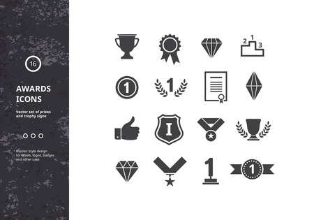 Awards Icons. Vector Set of prizes and Trophy Signs. Hipster Designs for Labels, Badges and Logos.