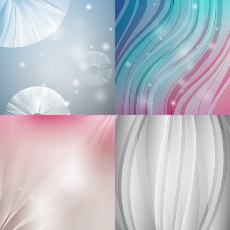 Abstract backgrounds with shiny lines. Vector northern radiance textured set.