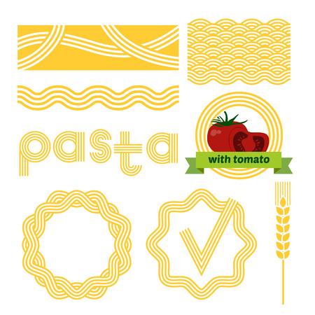 Pasta package labels design set. Vector background elements.