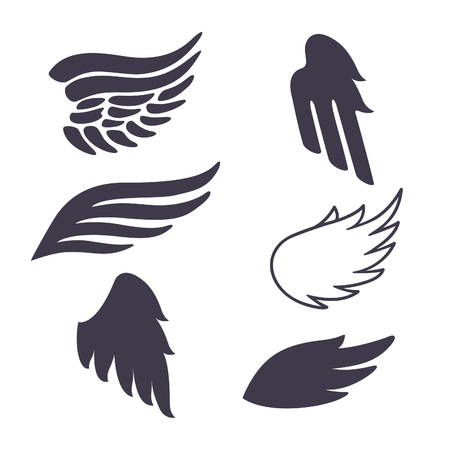 Set of Six Vector Silhouettes Wings. Elements for Logos, Tattoos, Labels and Badges Designs.
