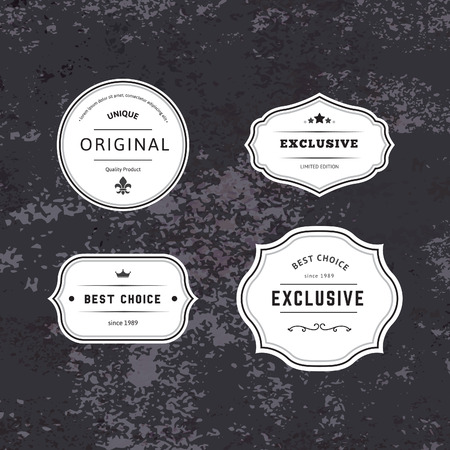 Ilustración de Set of Hipster Labels with Frames. Authentic Retro Vector Tags Design. Minimalistic Craft Beer Badges. - Imagen libre de derechos