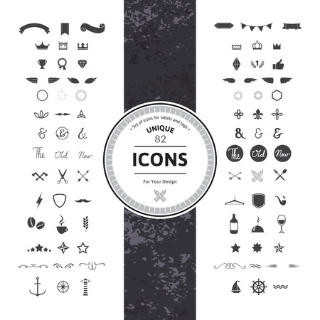 Ilustración de Awesome Set of Hipster Icons and Symbols for Modern Labels, Tags and Badges. Vintage Classic Graphic. Collection of Retro Objects, Frames and Silhouettes. - Imagen libre de derechos