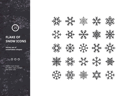 Ilustración de Set of Vector Snowflakes Shapes. Hipster Style Design for Labels, Badges and Icons. Winter Frozen Geometric Symbol. - Imagen libre de derechos