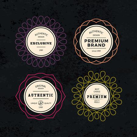 Illustration for Set of Elegant Labels with Frames. Authentic Retro Vector Tags Design. Minimalistic Vine Bottle Badges. - Royalty Free Image
