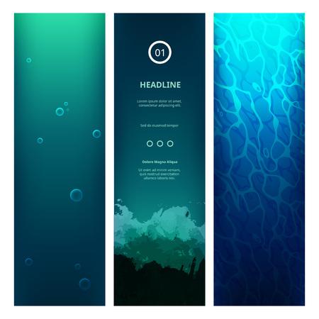 Illustration pour Underwater View Blue Background with Waves, Bubbles, Sunlight and Ripples.  - image libre de droit