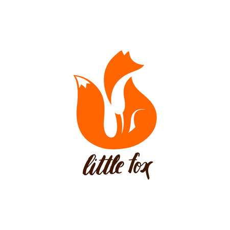 Illustration for Negative Space logo with Sitting Fox. Orange Fox Silhouette. Fox Icon. Fox Symbol. Fox Sign Isolated on White Background. Cute Animal Illustration. - Royalty Free Image