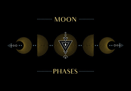 Illustration pour The Phases of the Moon. Cycle from New Moon to Full. Illustration. - image libre de droit
