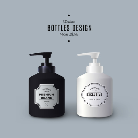 Realistic Black and White Liquid Soap Dispensers. Bottles with Vintage Labels. Product Packaging Design. Plastic Container Mock Up.