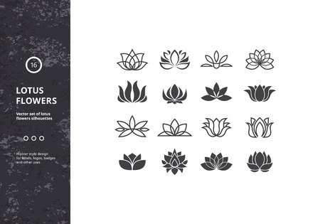 Lotus Flower Icons. Set of Template Water Lily Shapes. Hipster Designs for Labels, Badges