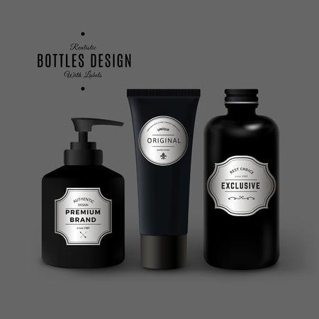 Illustration pour Dark Realistic Cosmetic Plastic Bottles Set. Product Packaging Design with Vintage Labels. Black Plastic Container Mock Up - image libre de droit