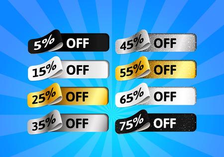 Illustration pour Special Offer Sale Set. Gold, Silver, black and White Shiny Labels with Percentage. Template Design of 3d Stickers - image libre de droit