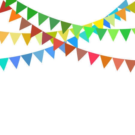 Illustration for Multicolored bright buntings flags garlands isolated on white background - Royalty Free Image