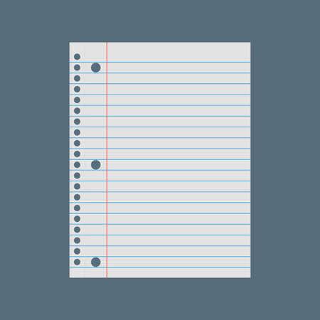 Illustration for Notebook paper background. Lined paper vector illustration - Royalty Free Image