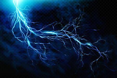 Illustration pour Big lightning on the skyA flash of lightning against a background of thunderclouds. Natural energy. Transparent elements. Vector - image libre de droit