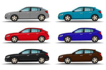 Illustration pour Set of six different colors cars on white background. Hatchback vehicles side view. Family transport concept. Vector illustration. - image libre de droit