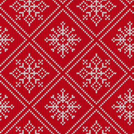 Illustration pour Christmas knitting seamless pattern with snowflakes. Knit geometric ornament. Knitted sweater design. Red winter print. Vector illustration. - image libre de droit