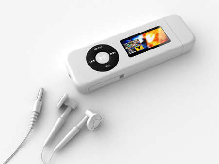 Digital illustration of Mp3 Player with earphones in white background
