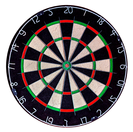 Photo pour Sisal professional dartboard isolate on white background (used condition) - image libre de droit