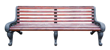 Front view on a length brown wooden bench with black metal legs and armrests with ornate patterns, isolated on a white background (design element)