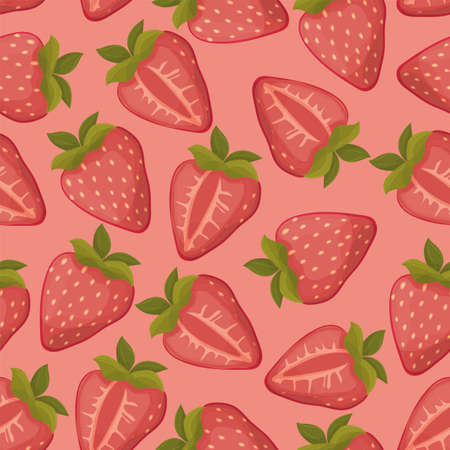 Illustration pour Strawberries seamless vector pattern with pink background - image libre de droit